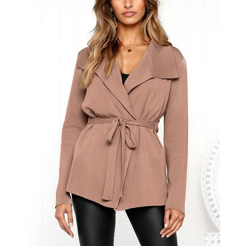 Women Autumn Plus Coat Waist Cardigan Straps Long-sleeved Slim   Trench   Lapel Casual Long Size