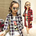 Kindstraum 2017  Autumn Children Plaid Blouse Brand Cartoon Shirts for Girls Casual Cotton Turn-down Collar Wear for Kids,RC650