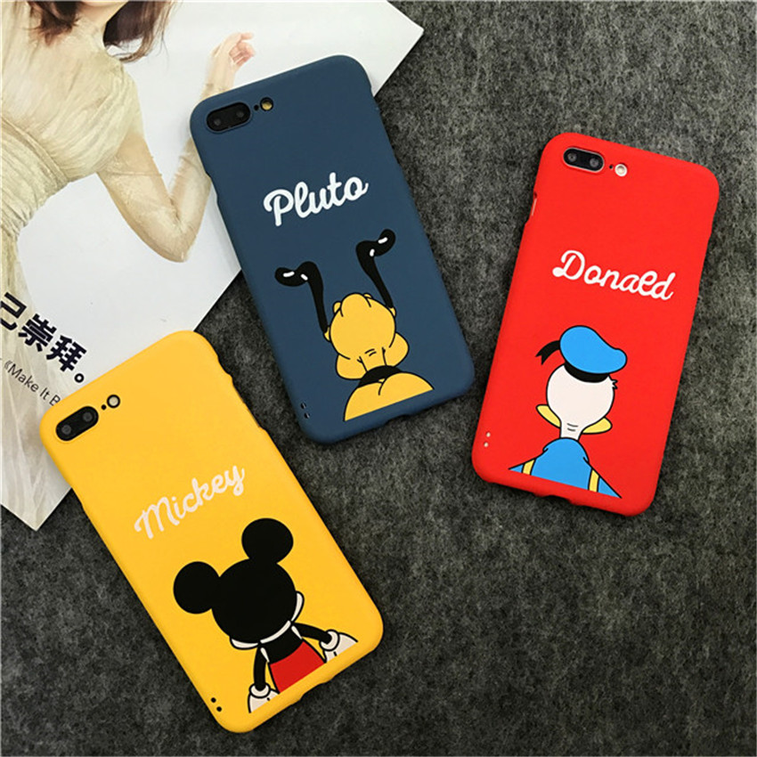 Cute Mickey Donald Duck Cartoon Cases Full Body 360 Coverage Slim Coque Phone Case For iPhone 7 6 6S Plus 7Plus 5 5S Cover Capa