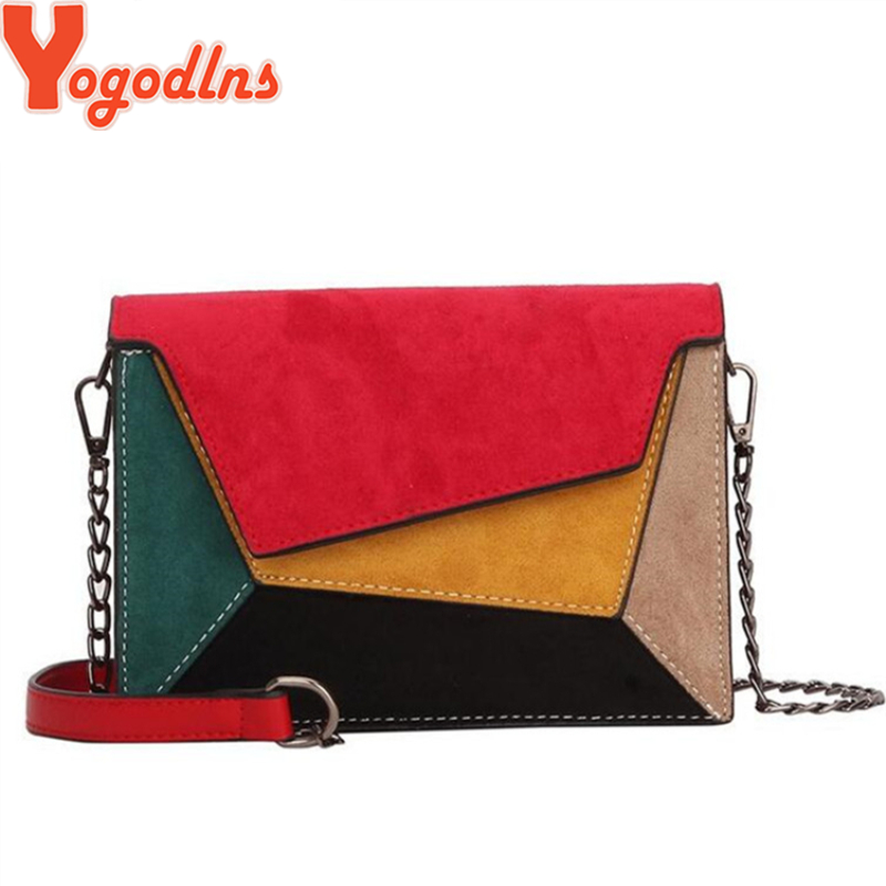 Yogodlns Crossbody-Bags Flap Chain-Strap Patchwork Matte Retro Small Women Lady Criss-Cross