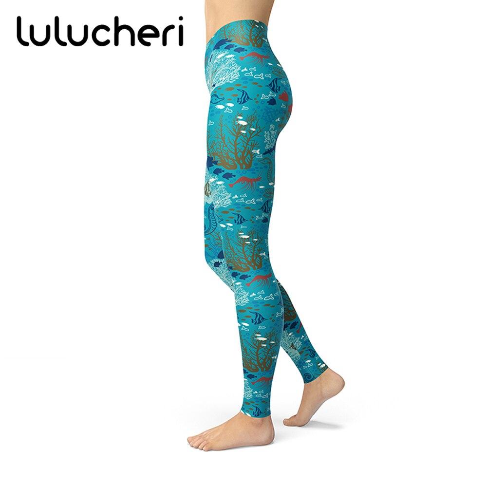 Women Leggings Marine Life Sea Blue Pattern Print Leggings Silk Brushed Buttery Soft Slim Fitness High Waist Plus Size Leggins