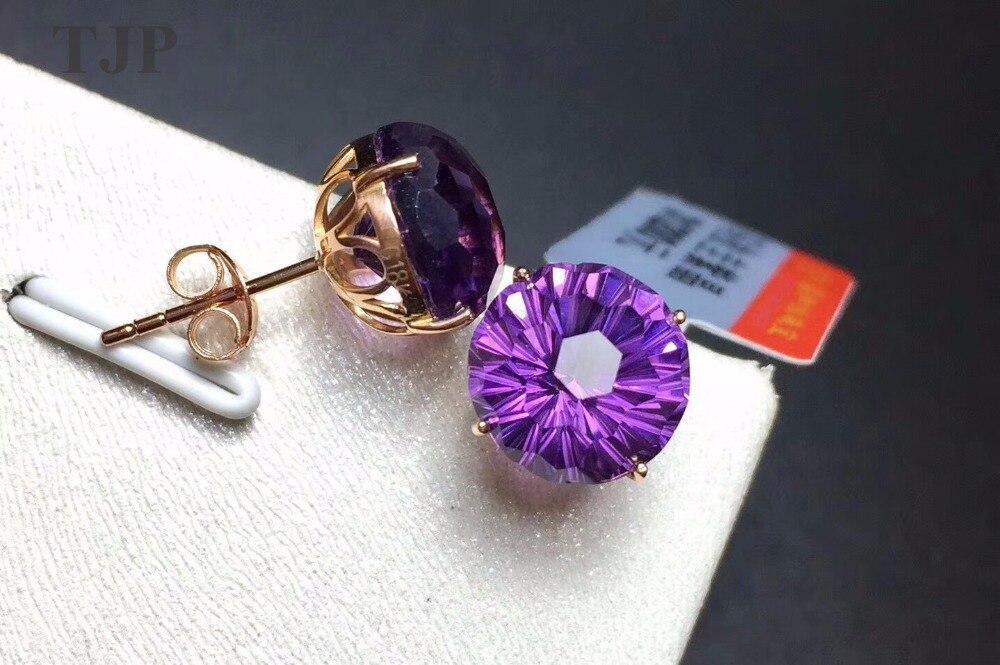 Tjp натуральный камень аметист круглый 18 К тоше золото шпилька серьги фиолетовый с сертификатом 10 мм Фиолетовый Алмазы Кристалл