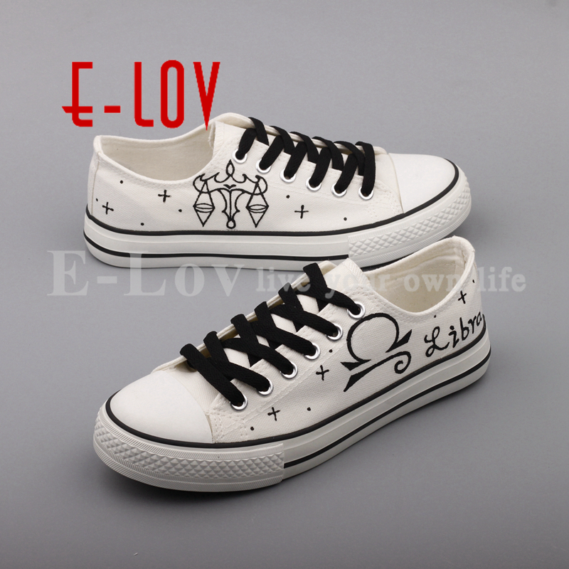 E-LOV Fashion Design Libra Constellation Canvas Shoes Women Customized Hand Painted Libra Sign Casual Flats Shoes For Lovers e lov personality luminous casual walking shoes hand painted graffiti aries constellation canvas flats shoes for women