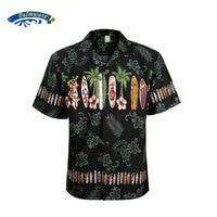 2019 New Summer Hawaiian Shirt Men US Size Plus Size Mens Short Sleeve Casual 100% Cotton Printing Hawaii Shirts A1396