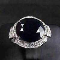 Натуральный сапфир gem человек кольцо Подлинная Твердые стерлингового серебра 925 натуральный драгоценный камень кольца для мужчин ювелирн