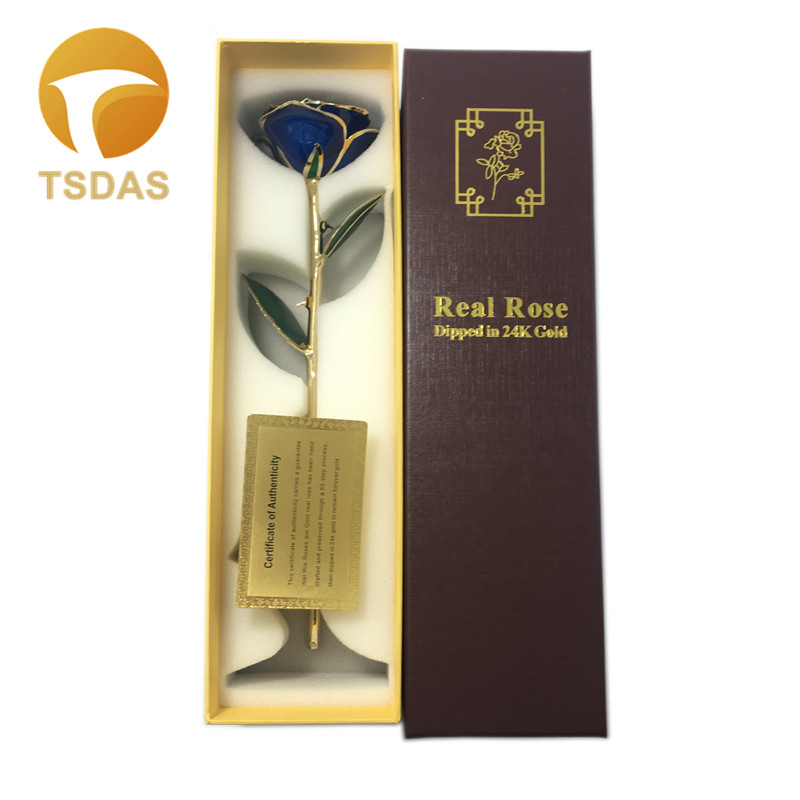Creative Valentine's Day Gift 24k Gold Plated Rose, Blue Rose Lover's Flower Gold Dipped Rose With Gift Box