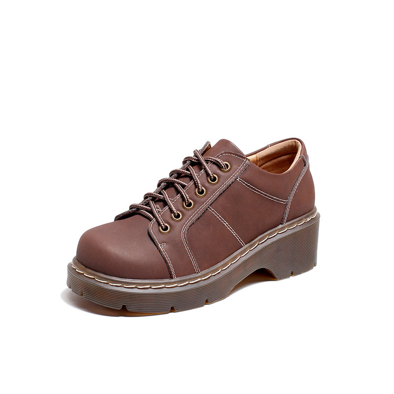 British thick soled single shoes female, autumn tie big head casual thick with retro casual shoes