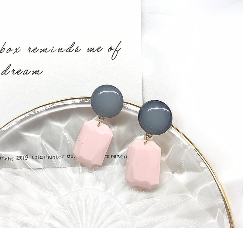Free Shipping Geometric Pink Sweet Cute Earring
