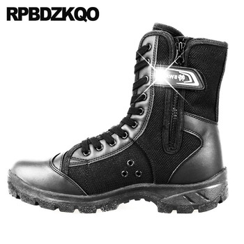 Patchwork Shoes Mid Calf Platform Army Retro Combat Boots Military Tactical Mesh Desert Casual Men Black Cheap Plus Size Canvas