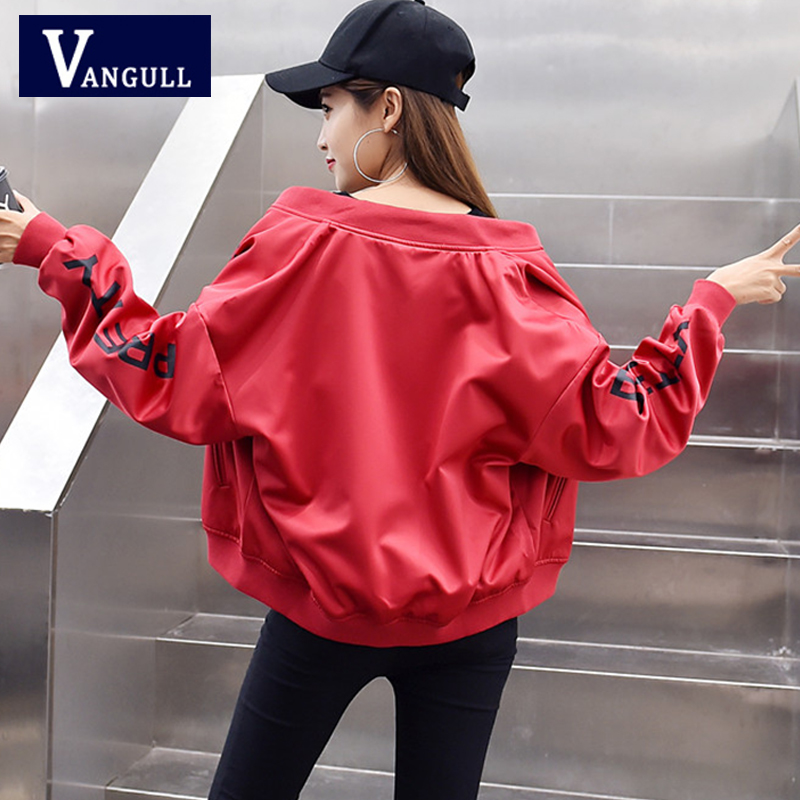2019 Spring & Summer Casual Women Short   Basic     Jackets   Long Sleeve V-Neck Letter Print Female Loose Coats Zipper Baseball   Jacket