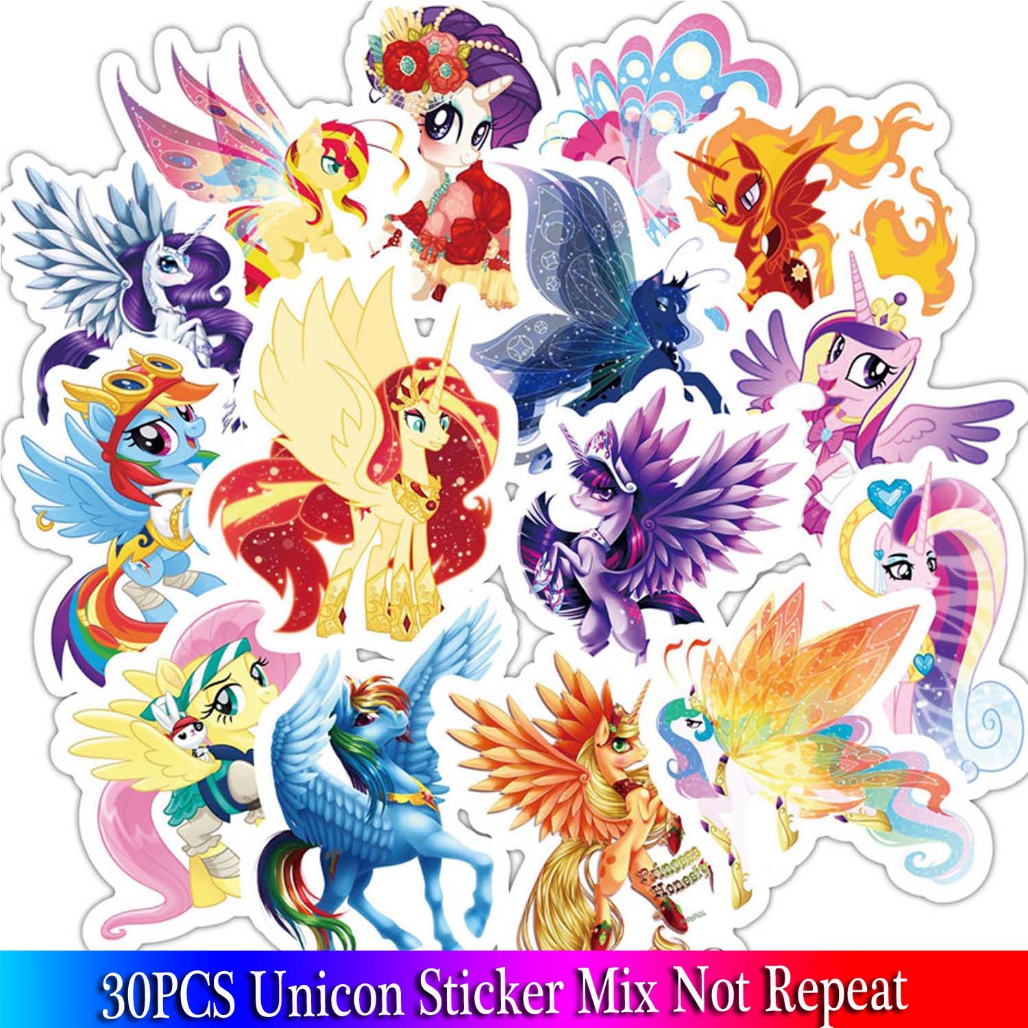 31PCS Prince Unicorn Series Stickers Set For Children Travel Case Bicycle Fridge Laptop Cute Cartoon Sticker Little Pony Sticker