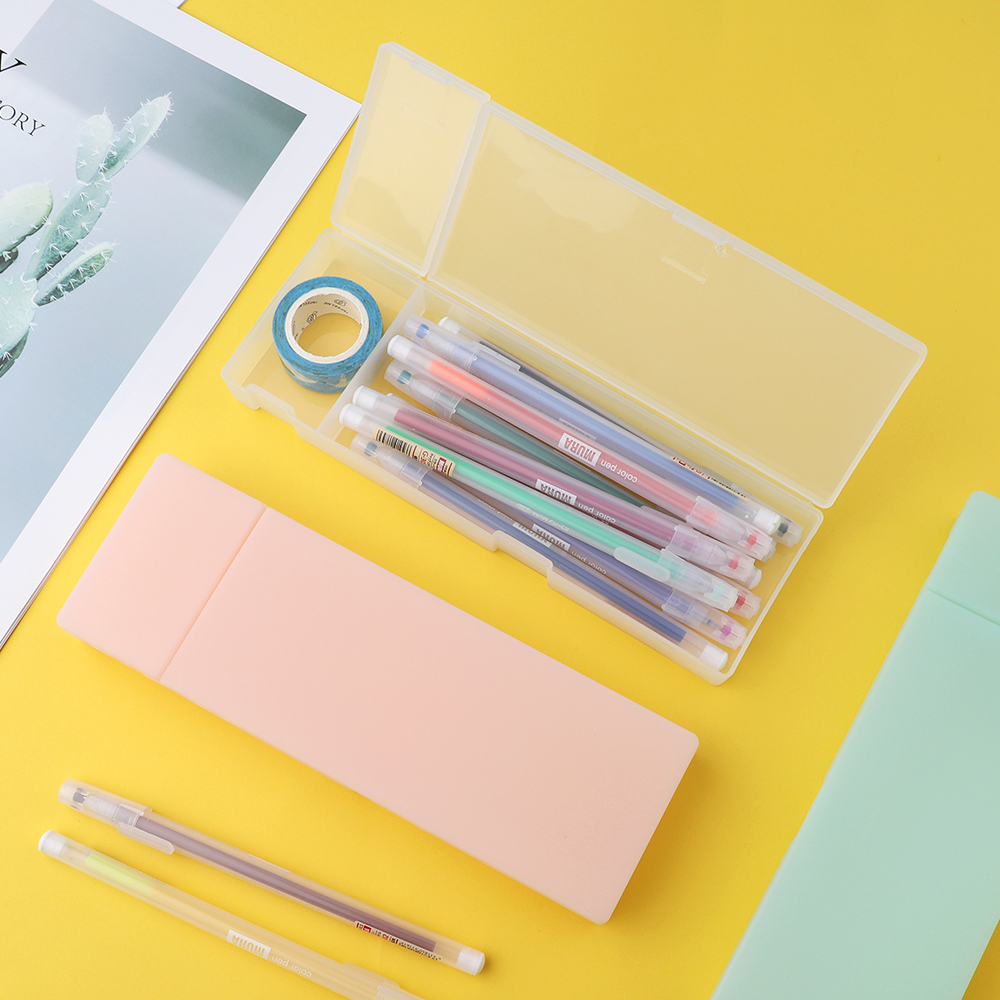 Clear Style Transparent Pencil Case Simple Pencil Box Plastic Storage Pencilcase Box Learning Stationery Office Supplies