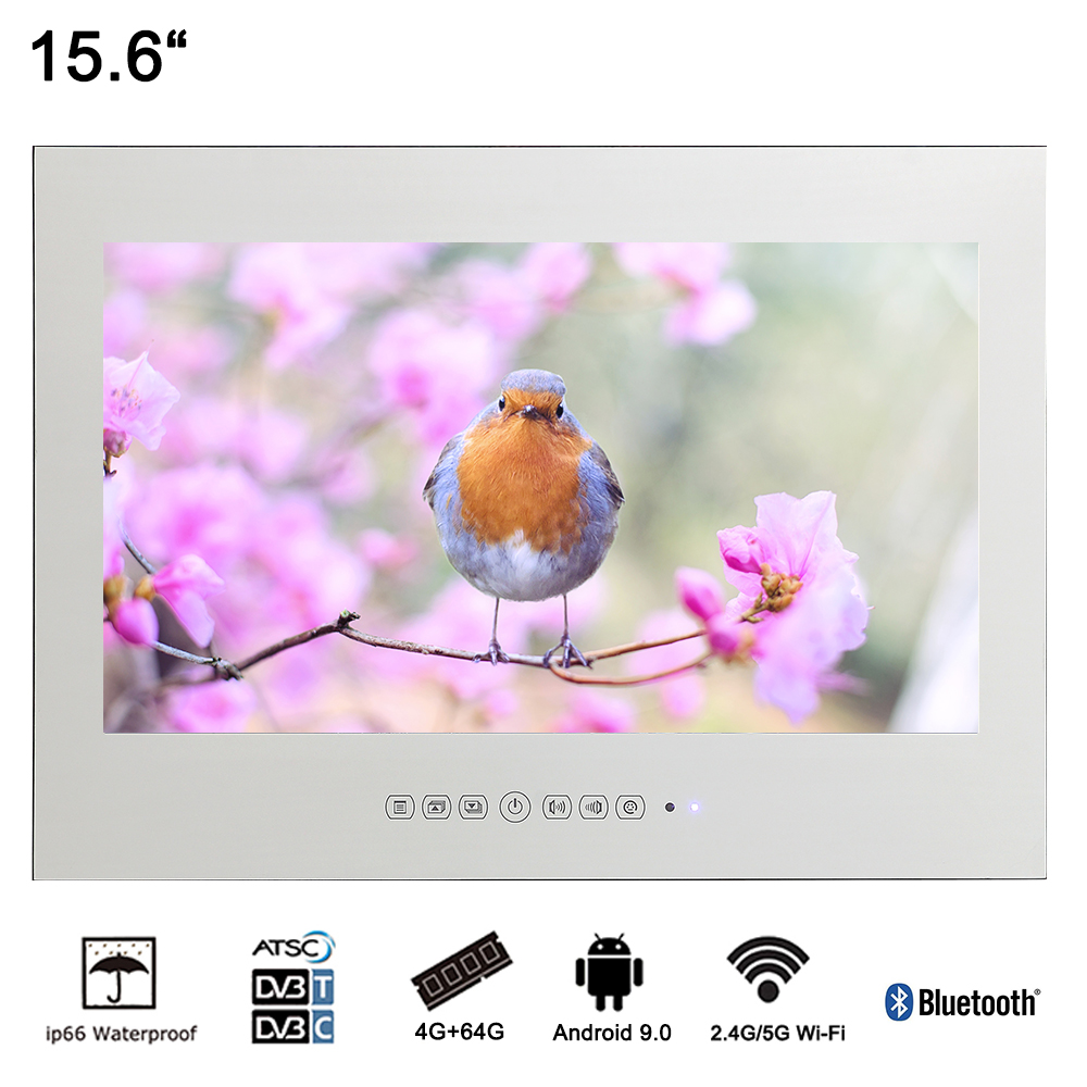 Souria 15,6 inch Android 9.0 Badkamer LED TV IP66 Waterdicht Hotel Vanishing WIFI HD (Magic Mirror / Zwart / Wit)