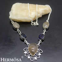 Hermosa Jewelry Beautiful Fashion Natural Gold Rutilated Quartz Sapphire925 Sterling Silver Necklace HF1439
