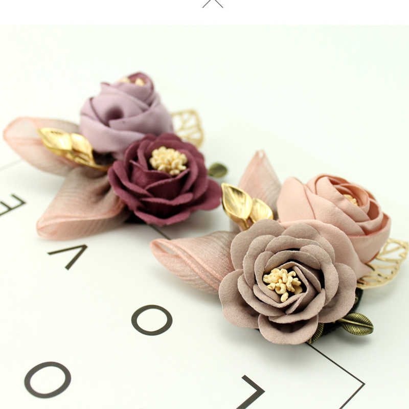 Bag Korean Cloth Art Fabric Flower Flower Women Brooches Collar Accessories Hat 1PC 3 Colors Sweater Shirt Collar Vintage