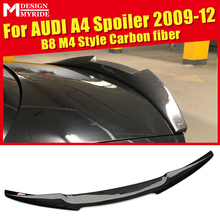 Fits For Audi A4 B8 A4a A4Q Carbon Fiber CF High Kick Rear Trunk Lip Spoilerking Wing Add on Style M4 Look Adhesive type 2009-12
