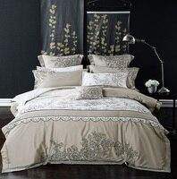 100% хлопок Queen/King Размеры Вышивка серый синий Постельные принадлежности корейский комплект Роскошный Королевский кровать набор пододеяльни