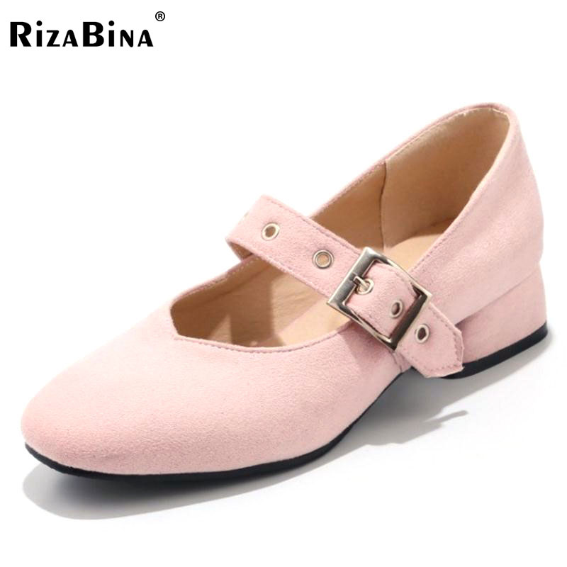 RizaBina Woman Thick High Heels Shoes Women Solid Color Squera Toe Buckle Strap Heels Pumps Ladies Daily Footwear Size 34-48 egonery buckle strap faux leather thick high heels fashion style ladies party shoes women s shoe plus size woman pumps