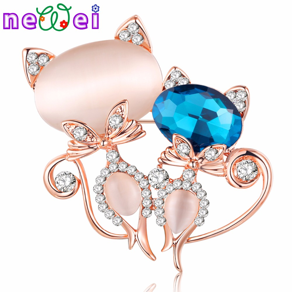 NEWEI Rhinestone Opal Cat Kitten Brooch For Women Brooches Pin Collar Suit Scarf Decoration New Fashion Animal Jewelry
