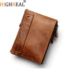 HIGHREAL Genuine Leather Men Wallet Crazy Horse Short Coin Purse Small Vintage Wallets Brand High Quality Cow Leather Male Walle