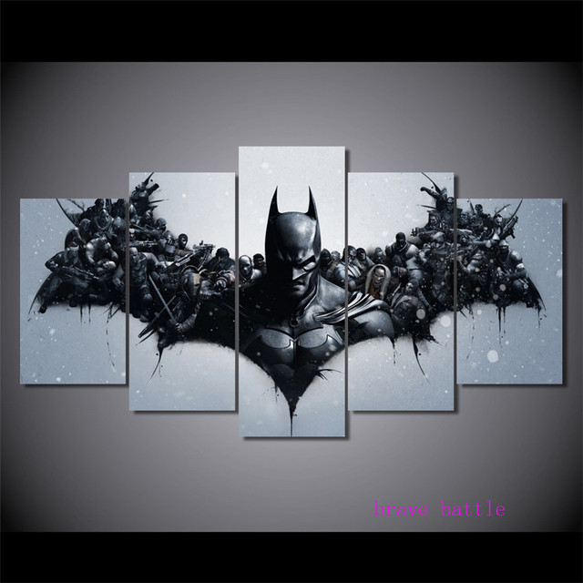 Batman Movie Characters Justice League 5 Pieces Canvas Painting Print Living Room Home Decor Modern Wall Art Oil Painting
