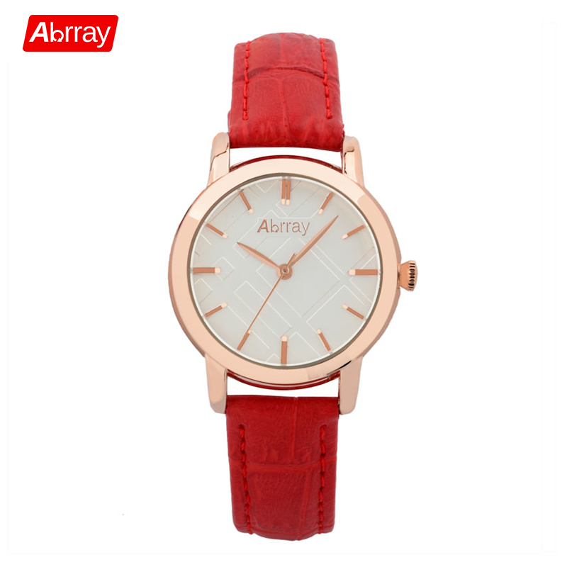 Abrray Women Watches Casual Fashion Red Genuine Leather Female Watch 3ATM Waterproof Japan Movement Quartz Wristwatch For Gift meibo fashion women hollow flower wristwatch luxury leather strap quartz watch female watch gift red