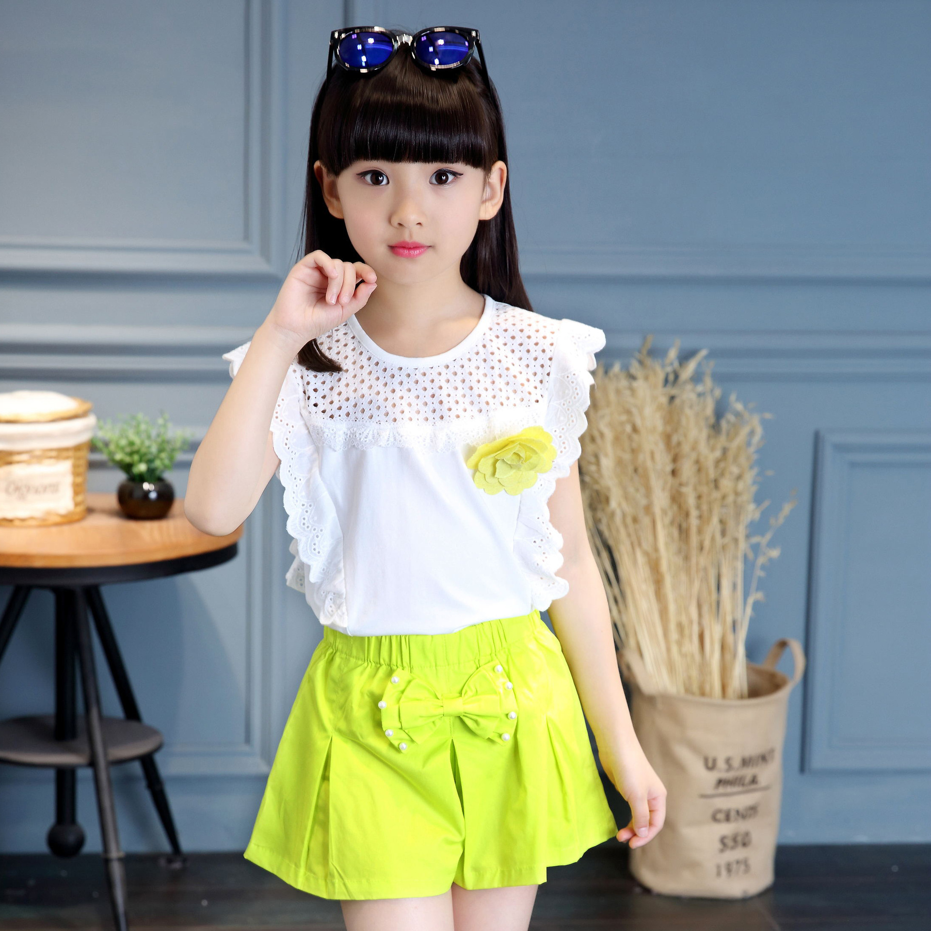 Children's Summer Flower Suit 2018 Korean New Style Kids Shirt + Short 2pcs Clothes Set For Girls 4 5 6 7 8 9 10 11 13 Years cheapest  10 items  5 suit clothes   5