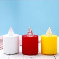 6 Set Beyaz, Kırmızı, Sarı Vücut Büyük Elektrikli Mumlar Için Parti, Tatil, Mezar, Renk değişen ışık