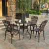 5-חתיכה כבד החובה יצוק אלומיניום עגול פטיו אוכל שולחן סט עם 4 כיסאות גבוה בחזרה  זרוע חיצוני סט