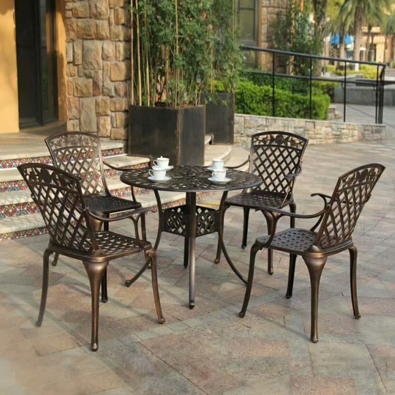 5-piece Heavy Duty Cast Aluminum Round Patio Dining Table Set With 4 Chairs High-back ,arm Outdoor Set