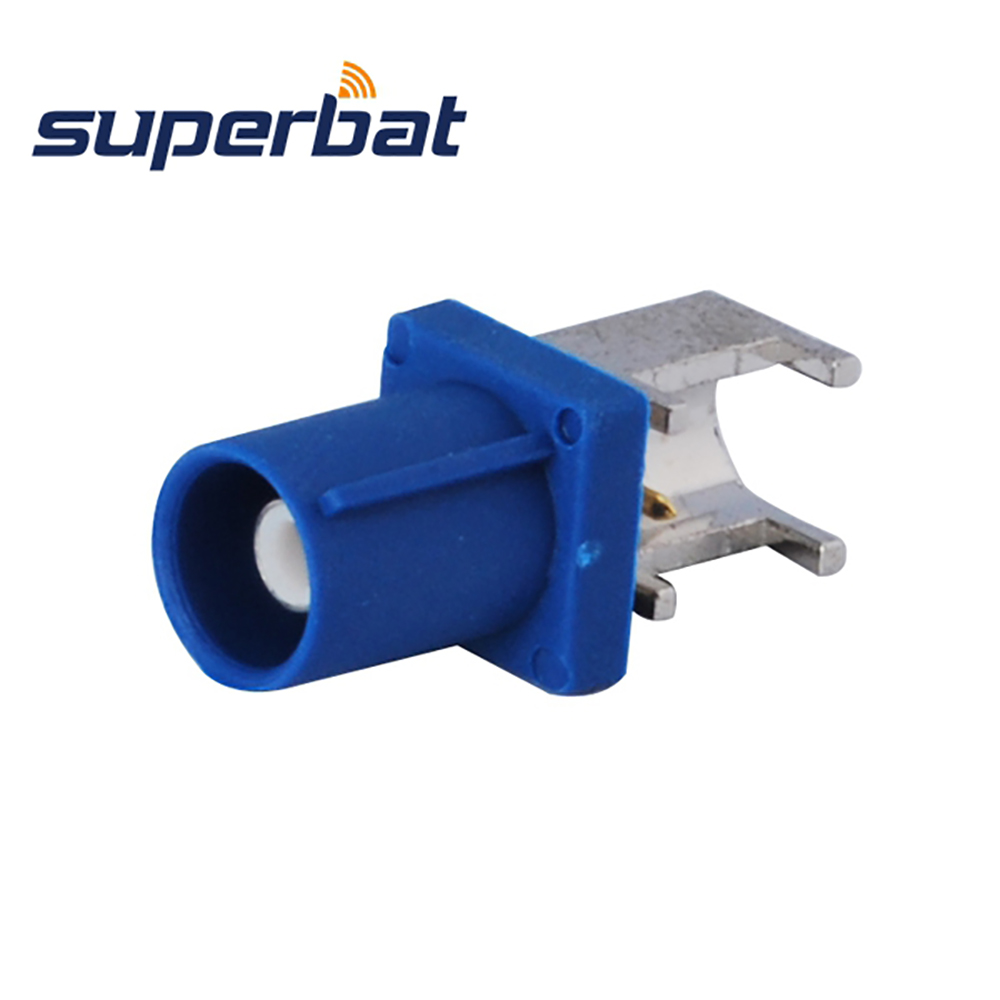 Superbat 10pcs Free Shipping Fakra Connector Plug Male End Launch PCB Mount Right Angle Blue for GPS Telematics or Navigation