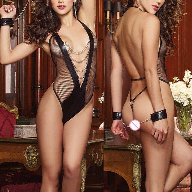 2018 Sexy Hot Costumes Lingerie Women's Lace Dress Underwear Black Babydoll Sleepwear G-string ES Porno Lenceria Erotic Langerie