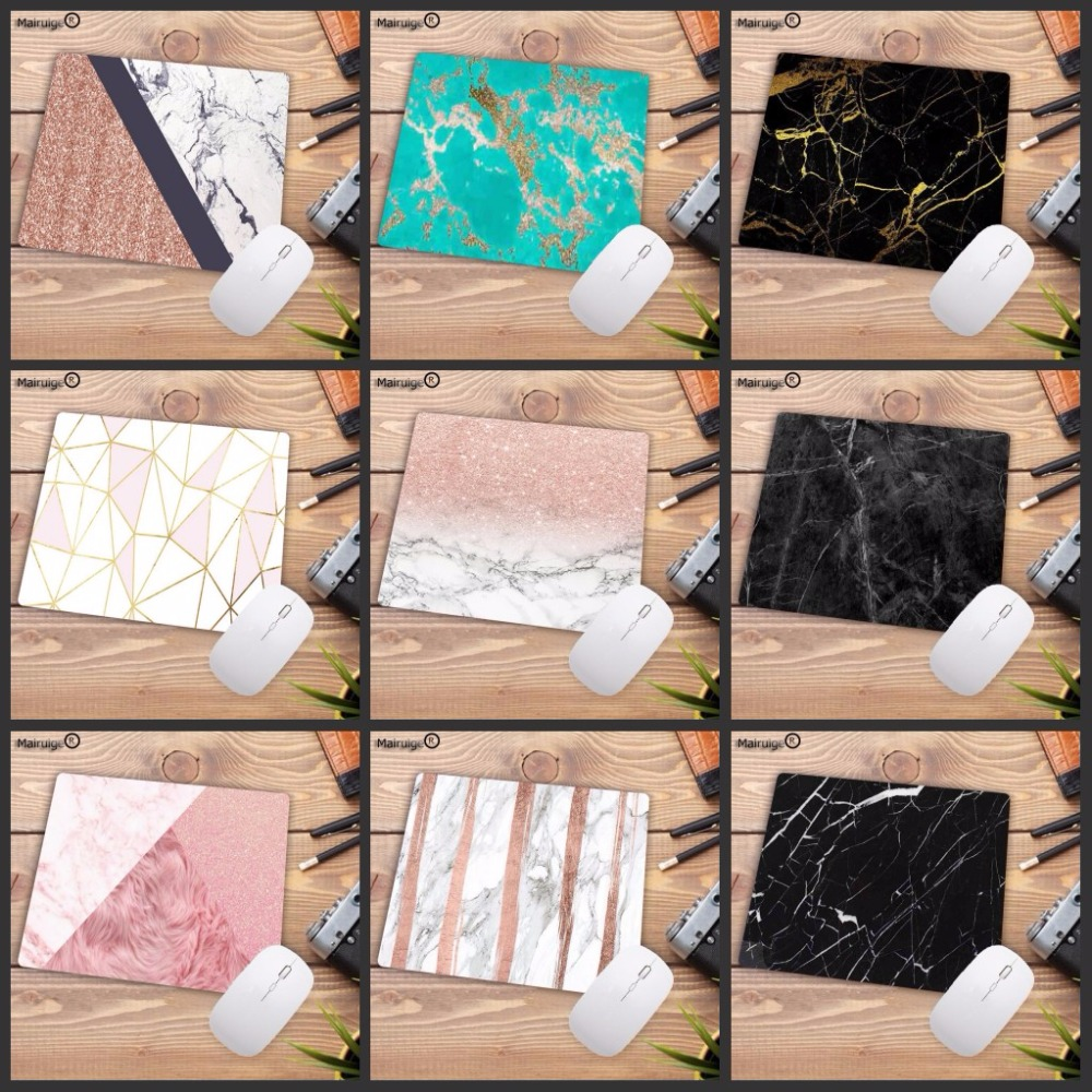 Mairuige 22X18CM New Designs Modern Faux Gold Glitter Pink Marble Laptop Gaming Mice Mousepad Anime Cartoon Print Game Mouse Pad
