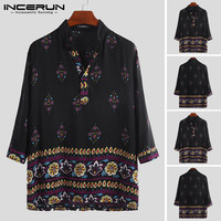 INCERUN 2019 Men Stand Collar Pullover Print Ethnic Style Long sleeved Shirt Loose Casual Streetwear Features Fashion Camisas