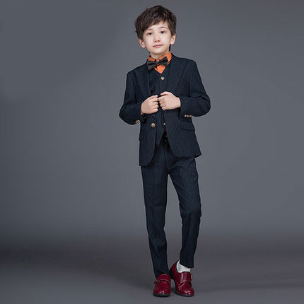 ФОТО High quality2016 new fashion baby boys children blazers boys suits for weddings formal black wedding suit flower boy dress