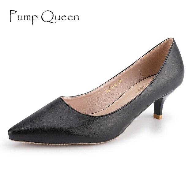 Tacones negros básicos mujeres bombas 2018 nuevos zapatos de oficina para  mujer suela de cuero Real 0a8aba8ef412