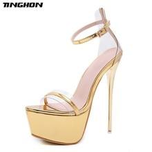 купить TINGHON Summer Transparent 17CM Super High Heel Sandals Sexy Catwalk High Heel Shallow Mouth With Open Toe Sandals Shoes дешево