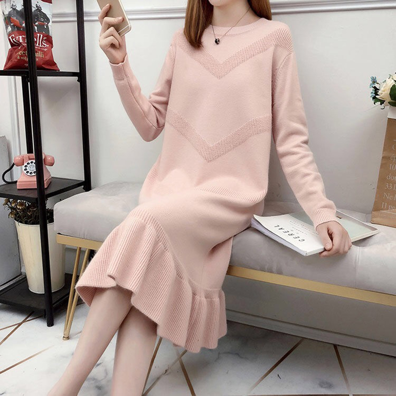 New Ruffle Loose Sweater Dress Autumn Winter 2019 Casual Long Sleeve Bodycon Dresses Ladies Plus Size Knitted Trumpet Dress 26