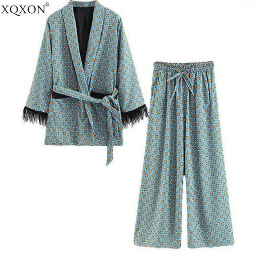 Женские костюмы 2019 Новое поступление, синее кимоно с принтом, куртка с перьями и широкими штанинами, комплект из двух предметов, винтажные костюмы