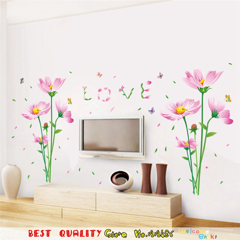 Pink Flower Waterproof Removable Wall Stickers Flora Designs Wall Decals  Living Room Decoration  Wall Stickers. Popular Designer Wall Decal Buy Cheap Designer Wall Decal lots