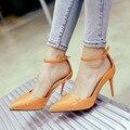 Novas Mulheres Bombas de Alta Sandálias de Salto Fino de Verão Couro Envernizado Elegante Rasa Apontou Sandálias Fivela Sexy Sapatos de Outono G1731-15