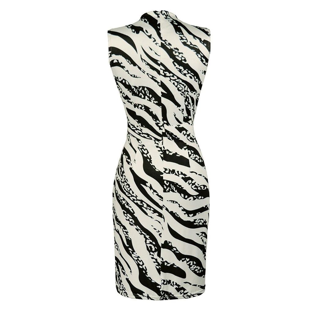 Women's Summer Dress Ladies Sexy Stripe Print Sleeveless Mini Dress Fashion  Bodycon Dresses Elegant Women sexy dresses 2019 NEW