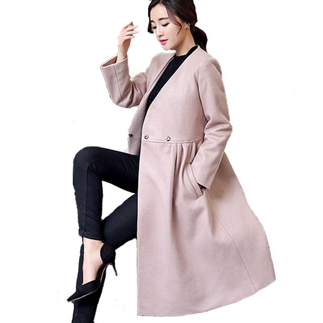Casaco Feminino Hiver Manteau Femmes Large Col En V Poche Laine Mélange  manteau Oversize Longue Rouge da5e59d6da5