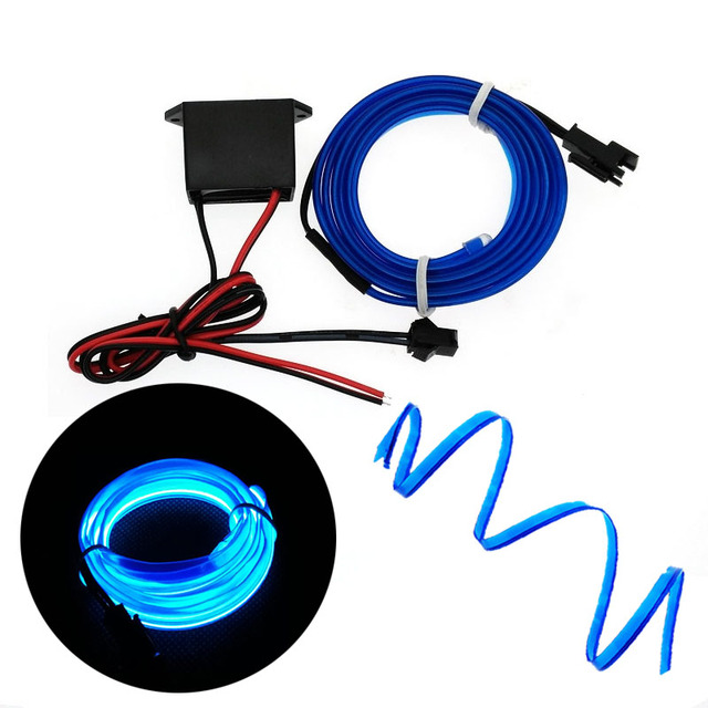 EL Draht 6mm Nähen Rand Neon auto Lichter Dance Party Auto Decor Licht Flexible EL Draht lampen Seil Rohr LED Streifen Mit DC12V Fahrer