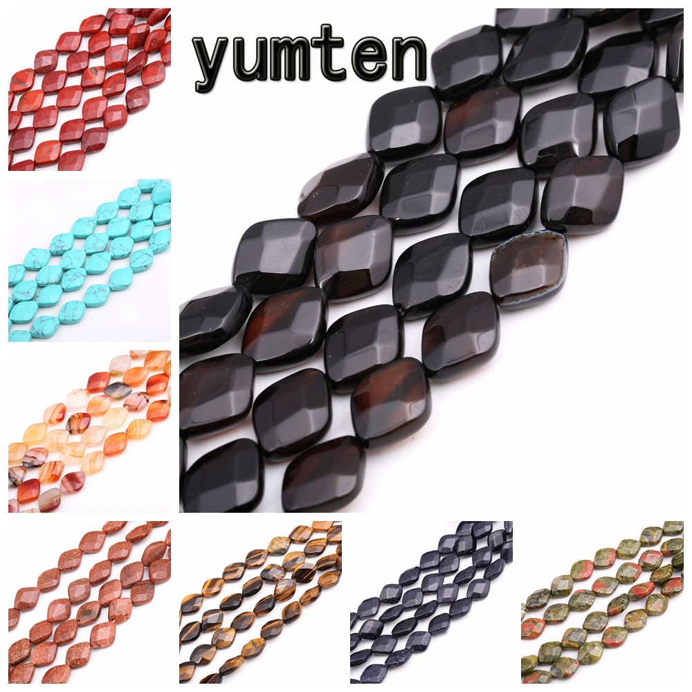 Yumten Square Black Agate Beads 10mm*13mm Natural Stone Tbsidian Opal Turquoise Malachite Tiger Eye Topaz Bead Jewelry Making