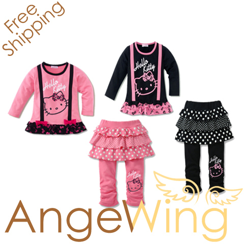 2013 Brand New, Children Girls Hello Kitty Clothing Sets, 2 pc Set Clothes Suit 80-120 Free Shipping
