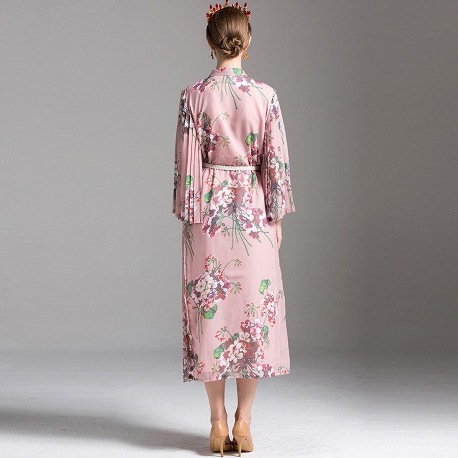 Bohemian Dresses 2018 Summer New Women Fashion Elegant Full Sleeve Elegant Bow Pleated Floral Print Pink Mid-Calf Loose Dress