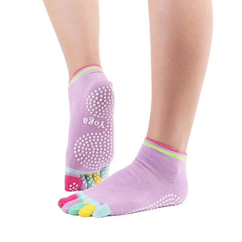pé meias de yoga colorido anti-skid esportes