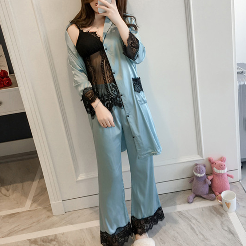 Lace Silk Satin Women Three Piece   Pajama     Sets   Long Sleeve Crochet Hollow Button Women Sleepwear 2018 Autumn Sexy Home Suit