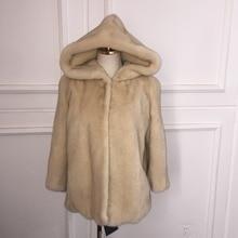 2016 new mink coat imports daylight natural color hooded dress skirt-season super cheap
